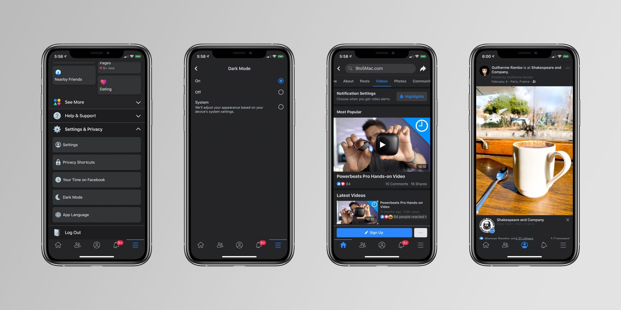 facebook mode sombre dark mode