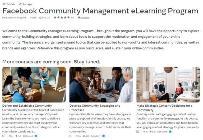 facebook community management elearning program cours gratuit