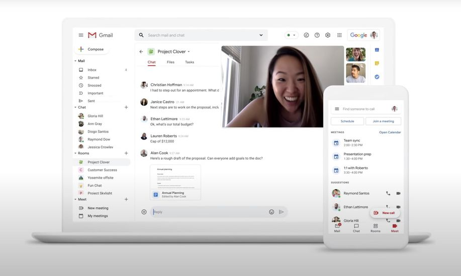 gmail google docs chat meet rooms
